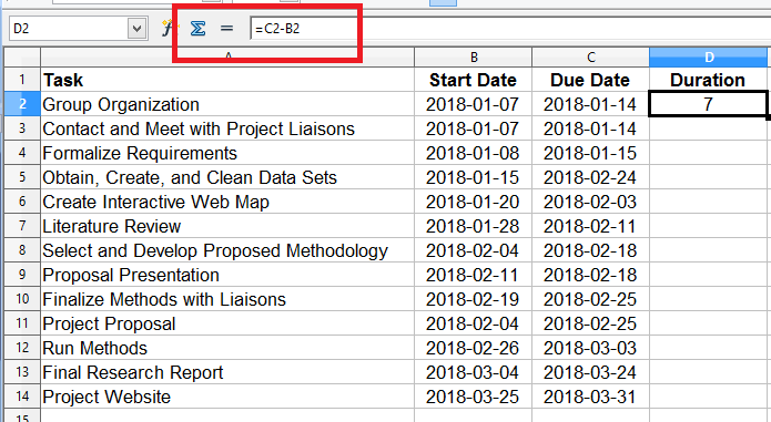 i then added a field called duration i calculated each tasks duration using the start and end dates i specified i defined the operation as due date